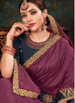 Mauve  Border Fancy Fabric Classic Saree