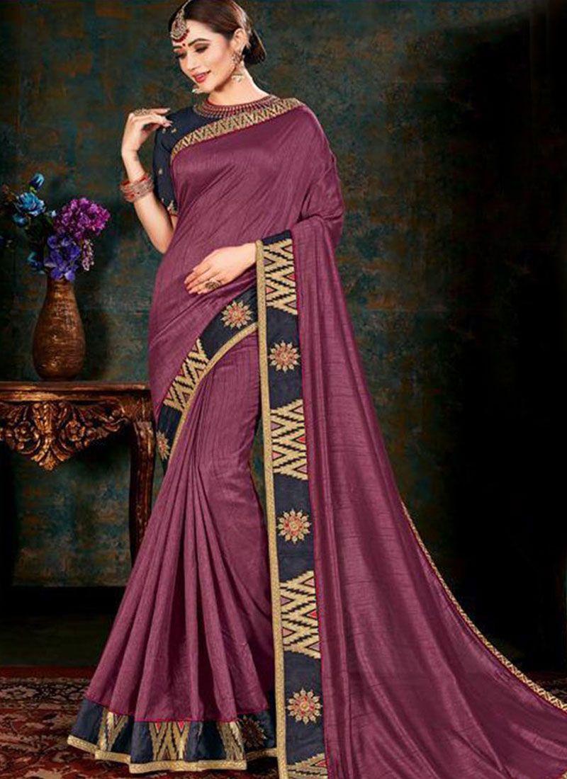 Mauve  Border Fancy Fabric Classic Saree