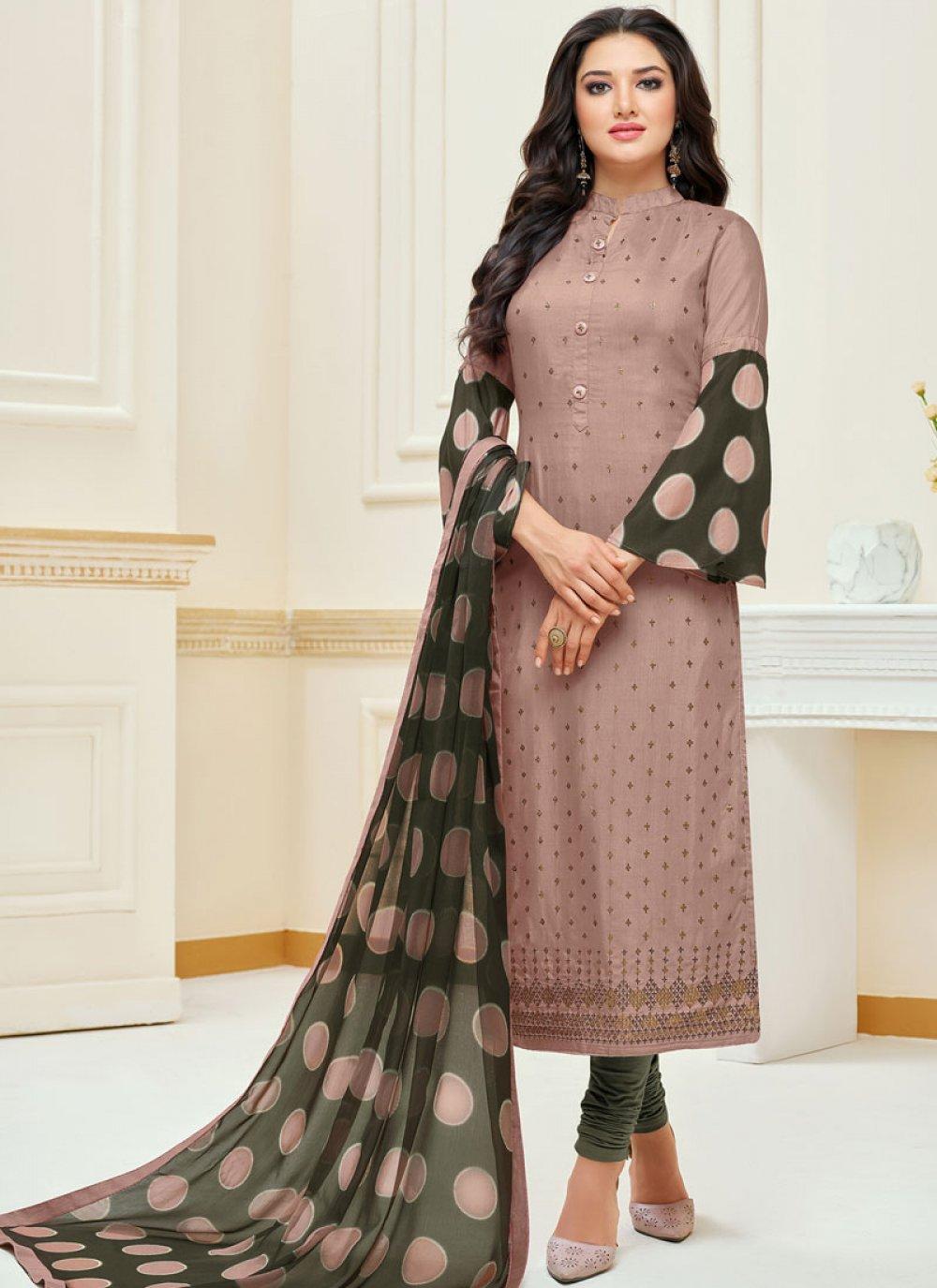 Mauve  Chanderi Cotton Ceremonial Churidar Suit