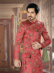 Mauve  Jacquard Embroidered Sherwani