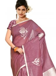 Mauve  Weaving Tussar Silk Casual Saree