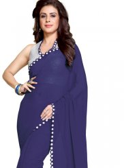 Mirror Faux Georgette Saree in Blue