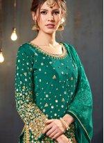 Mirror Green Tafeta Silk Designer Patiala Suit