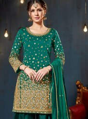 Mirror Green Tafeta Silk Designer Patiala Suit