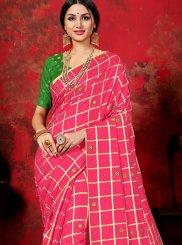 Mirror Silk Pink Trendy Saree