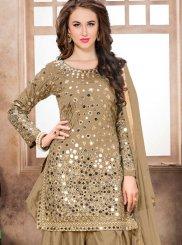 Mirror Tafeta Silk Brown Designer Patiala Salwar Kameez