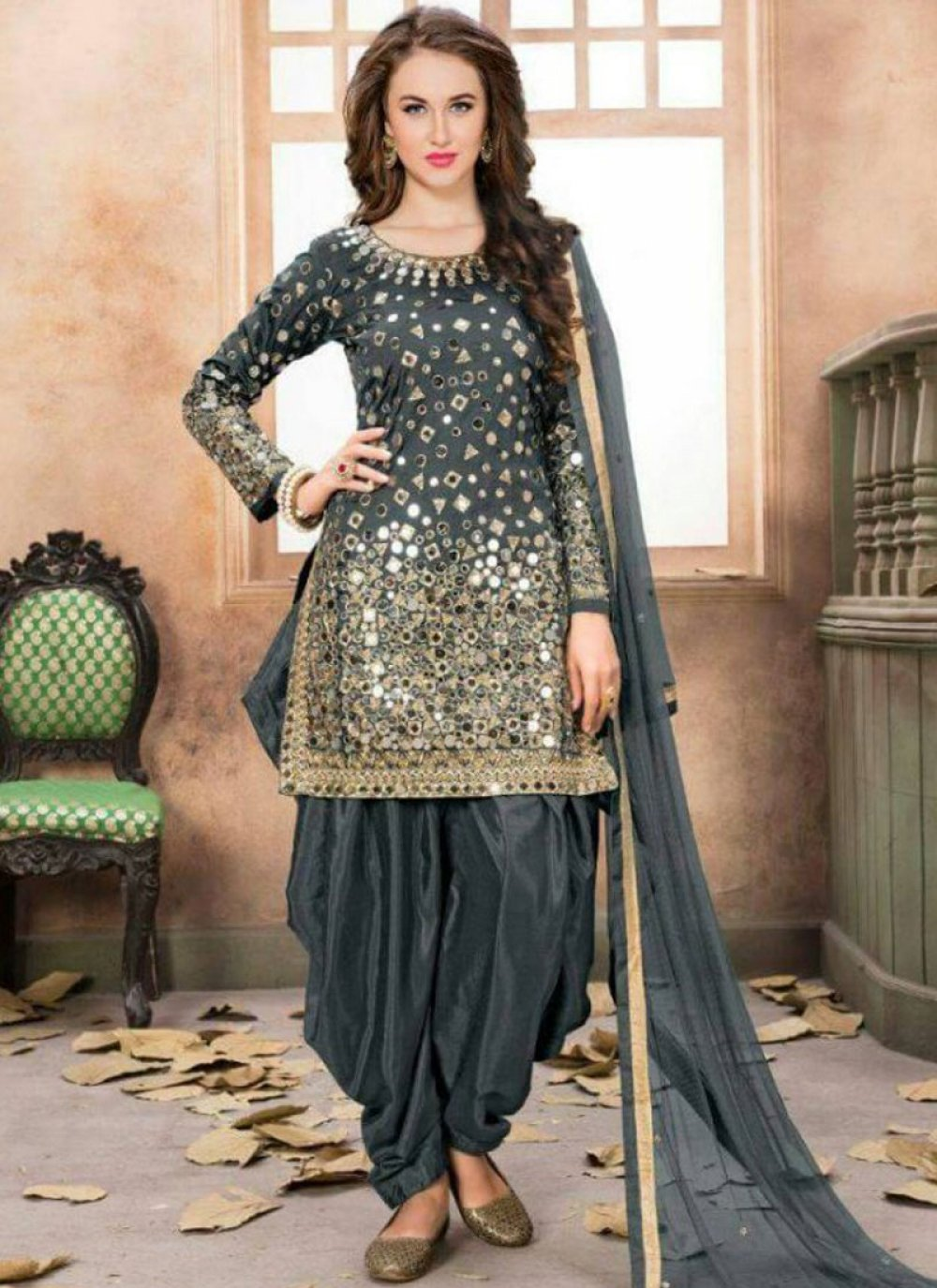 Mirror Work Grey Patiala Salwar Kameez