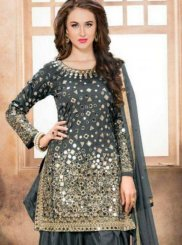 Mirror Work Grey Patiala Salwar Kameez