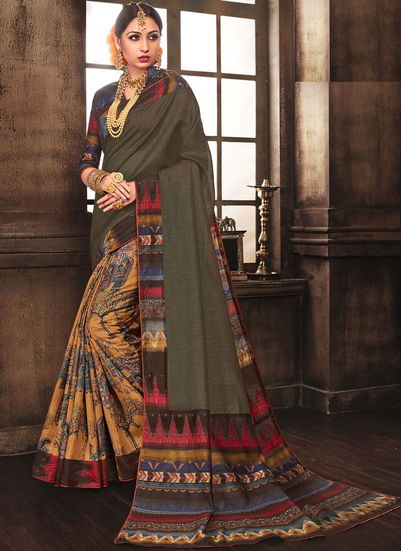 Multi Colour Abstract Print Art Silk Designer Traditional Saree