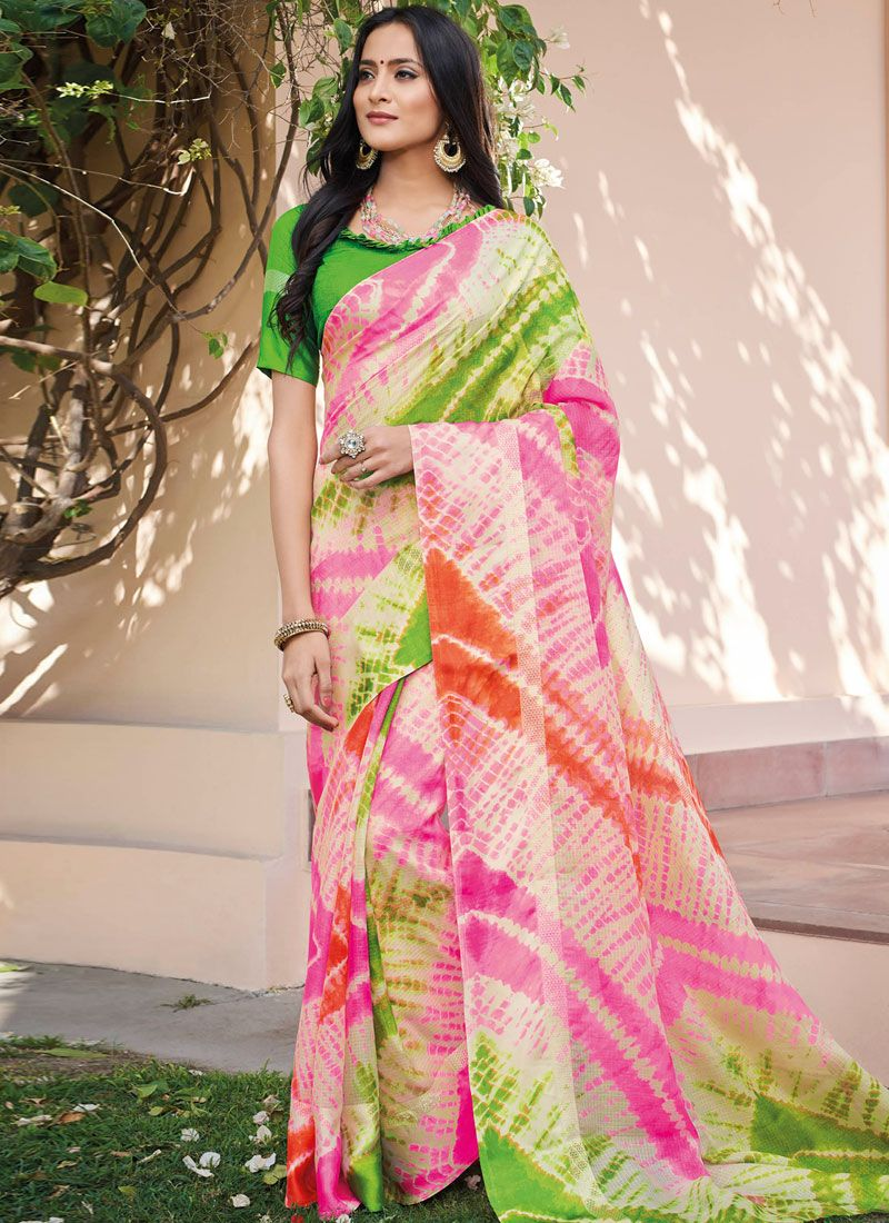Multi Colour Abstract Print Art Silk Printed Saree