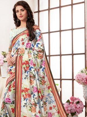 Multi Colour Abstract Print Art Silk Printed Saree