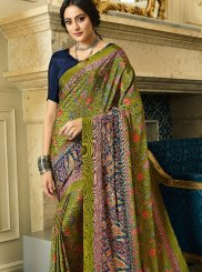 Multi Colour Abstract Print Casual Printed Saree