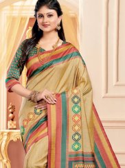 Multi Colour Abstract Print Ceremonial Traditional Saree