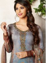 Multi Colour Abstract Print Churidar Designer Suit