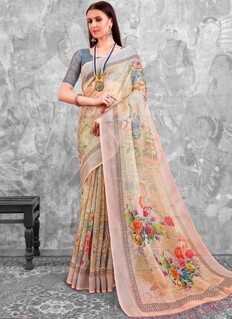 Multi Colour Abstract Print Cotton Printed Saree