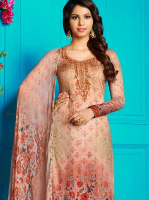 Multi Colour Abstract Print Cotton Satin Churidar Designer Suit