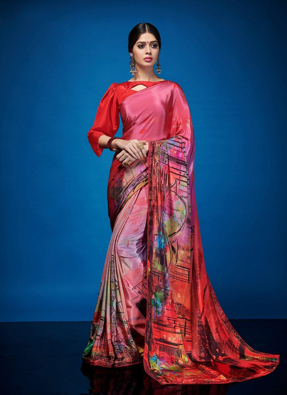 Multi Colour Abstract Print Crepe Silk Casual Saree