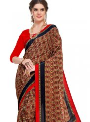 Multi Colour Abstract Print Crepe Silk Printed Saree