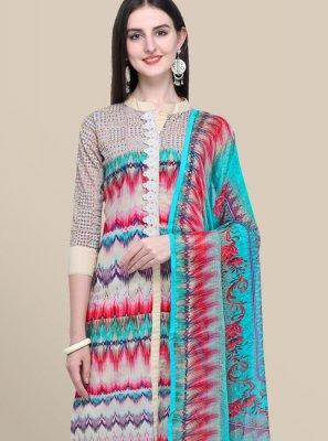 Multi Colour Abstract Print Designer Suit