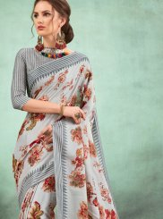 Multi Colour Abstract Print Fancy Fabric Casual Saree
