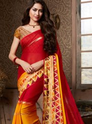 Multi Colour Abstract Print Fancy Fabric Printed Saree