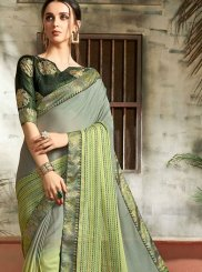 Multi Colour Abstract Print Faux Chiffon Printed Saree
