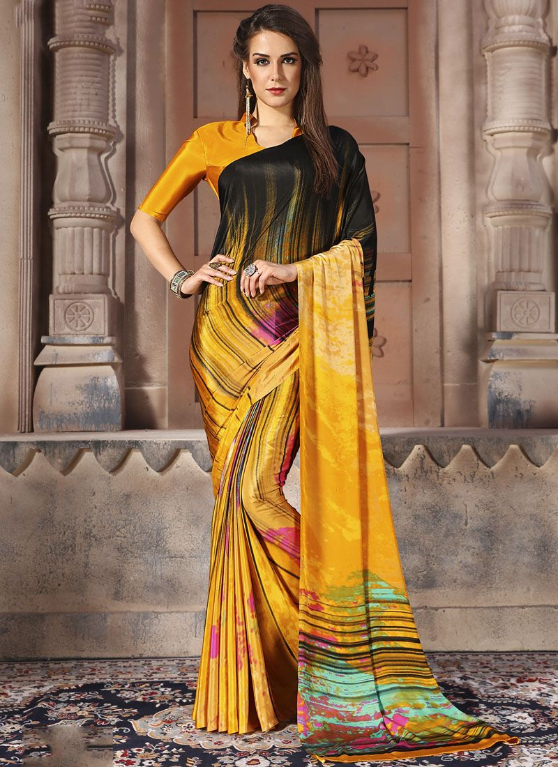 Multi Colour Abstract Print Faux Crepe Casual Saree