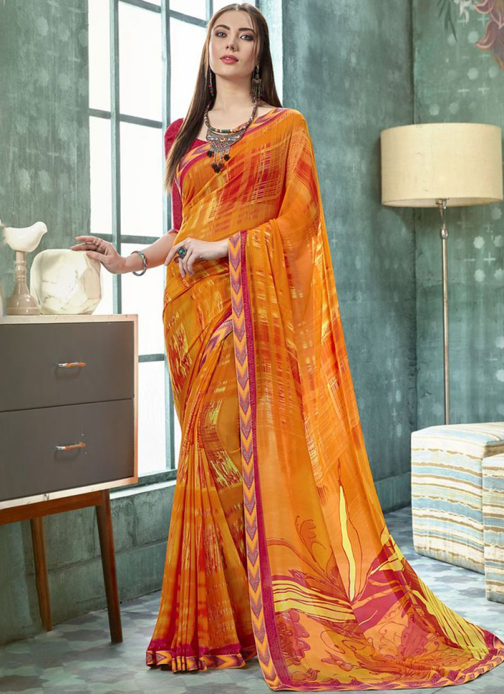 Multi Colour Abstract Print Faux Georgette Casual Saree