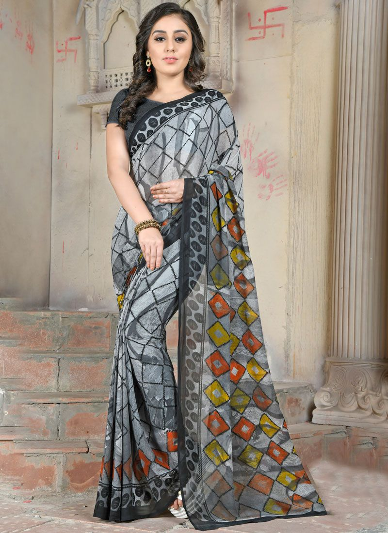16c4727fd2 Shop Multi Colour Abstract Print Faux Georgette Printed Saree Online :  105235 -