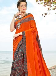 Multi Colour Abstract Print Festival Half N Half  Saree