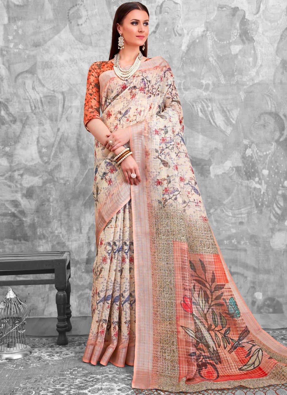 Multi Colour Abstract Print Festival Printed Saree