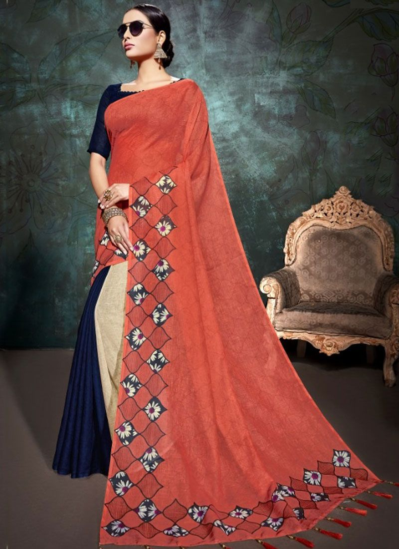 Multi Colour Abstract Print Linen Printed Saree