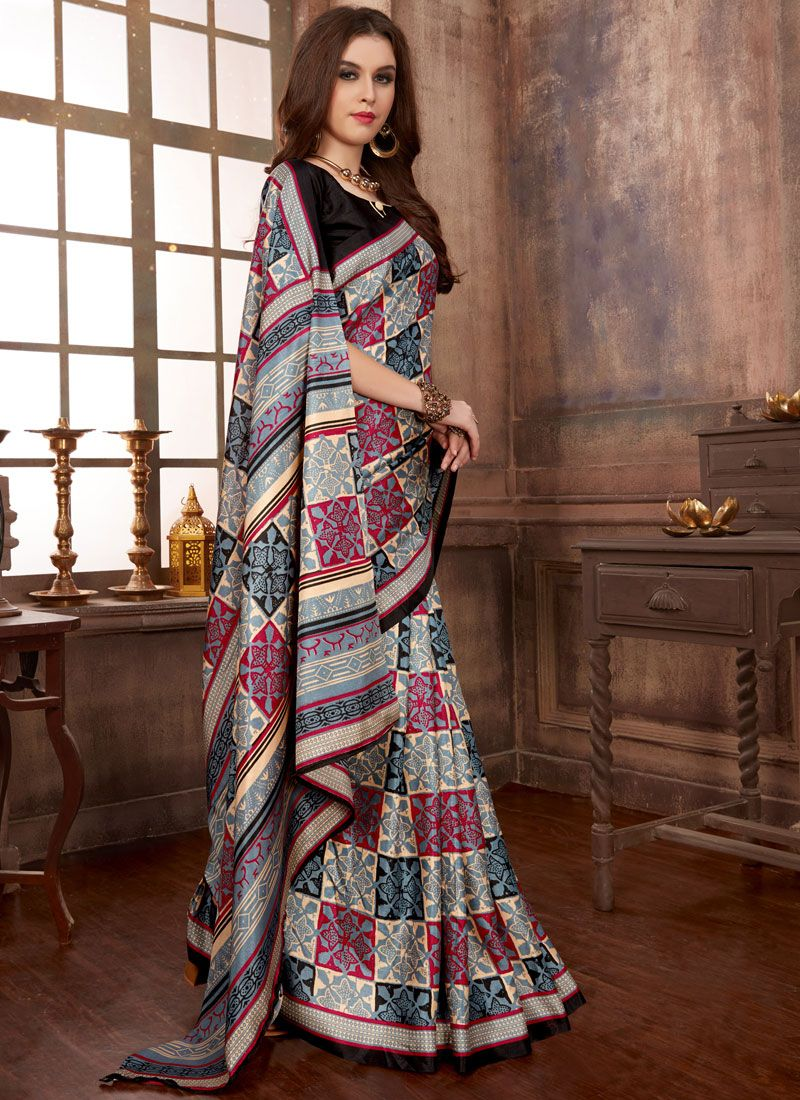 Multi Colour Abstract Print Manipuri Silk Printed Saree