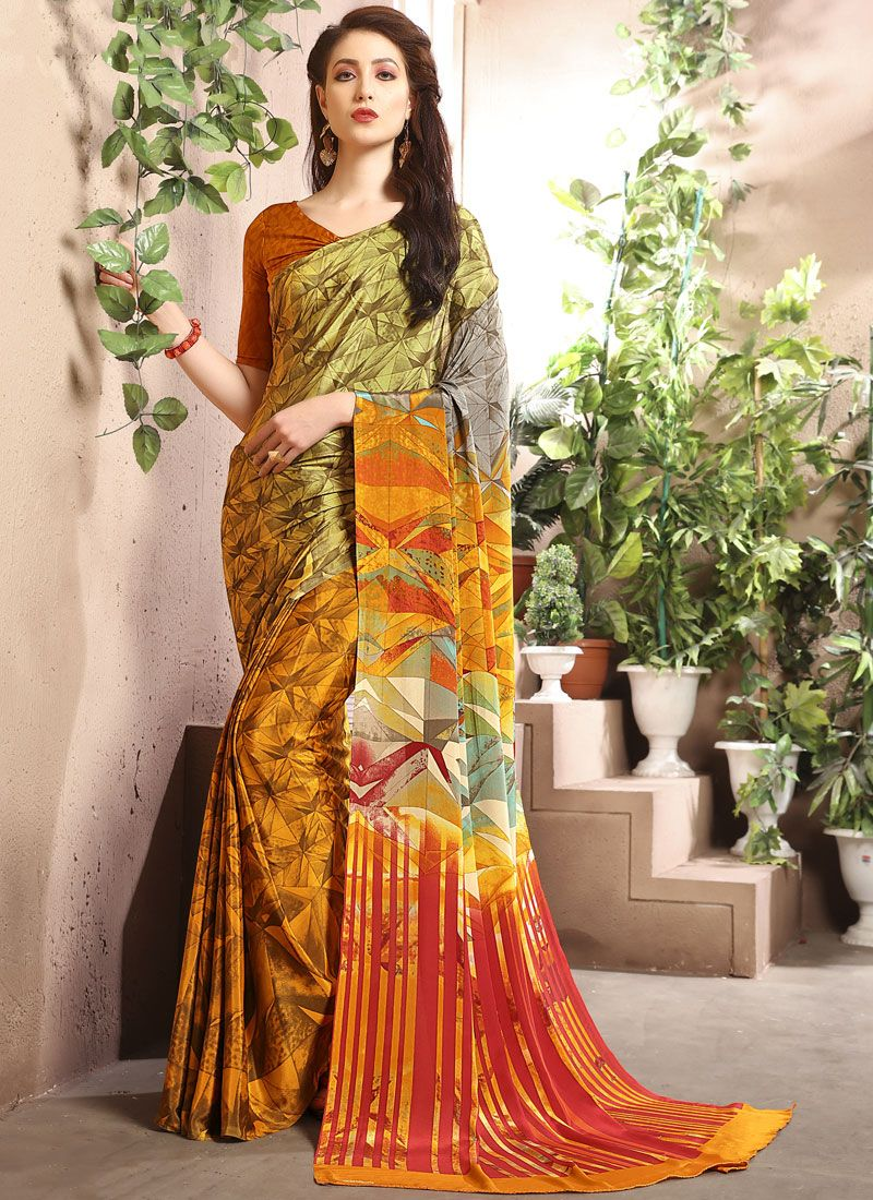 Multi Colour Abstract Print Party Casual Saree