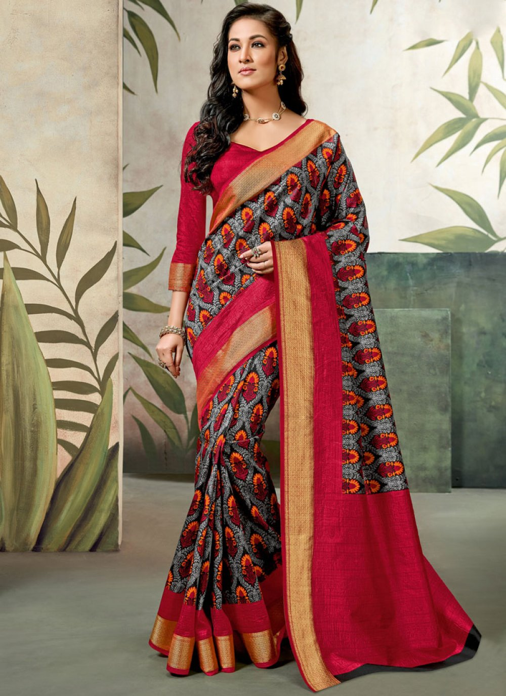 Multi Colour Abstract Print Raw Silk Traditional Saree