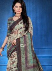 Multi Colour Abstract Print Traditional Designer Saree