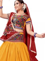Multi Colour and Mustard Cotton Mirror A Line Lehenga Choli