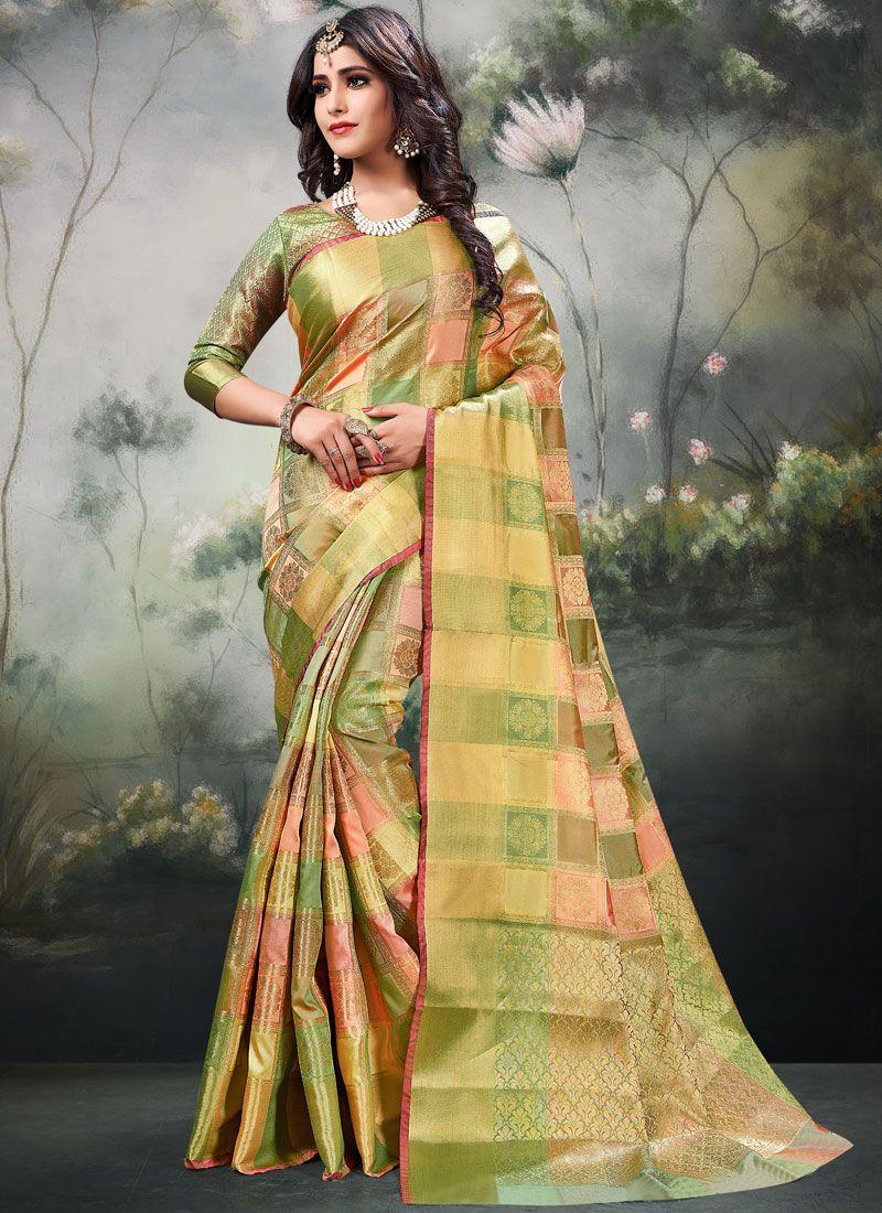 Multi Colour Art Silk Ceremonial Designer Traditional Saree