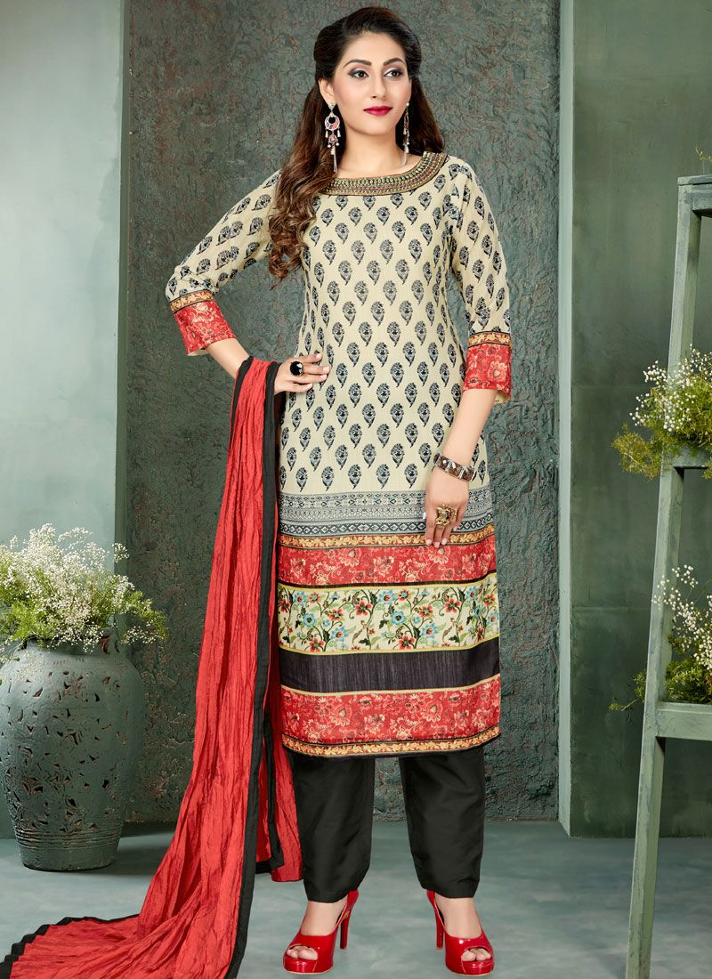 Multi Colour Art Silk Embroidered Readymade Suit