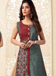 Multi Colour Art Silk Festival Casual Kurti