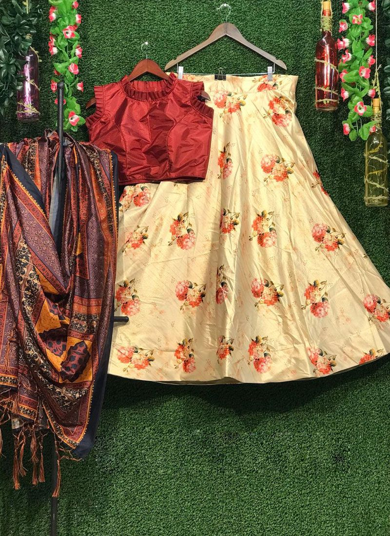 Multi Colour Art Silk Festival Lehenga Choli