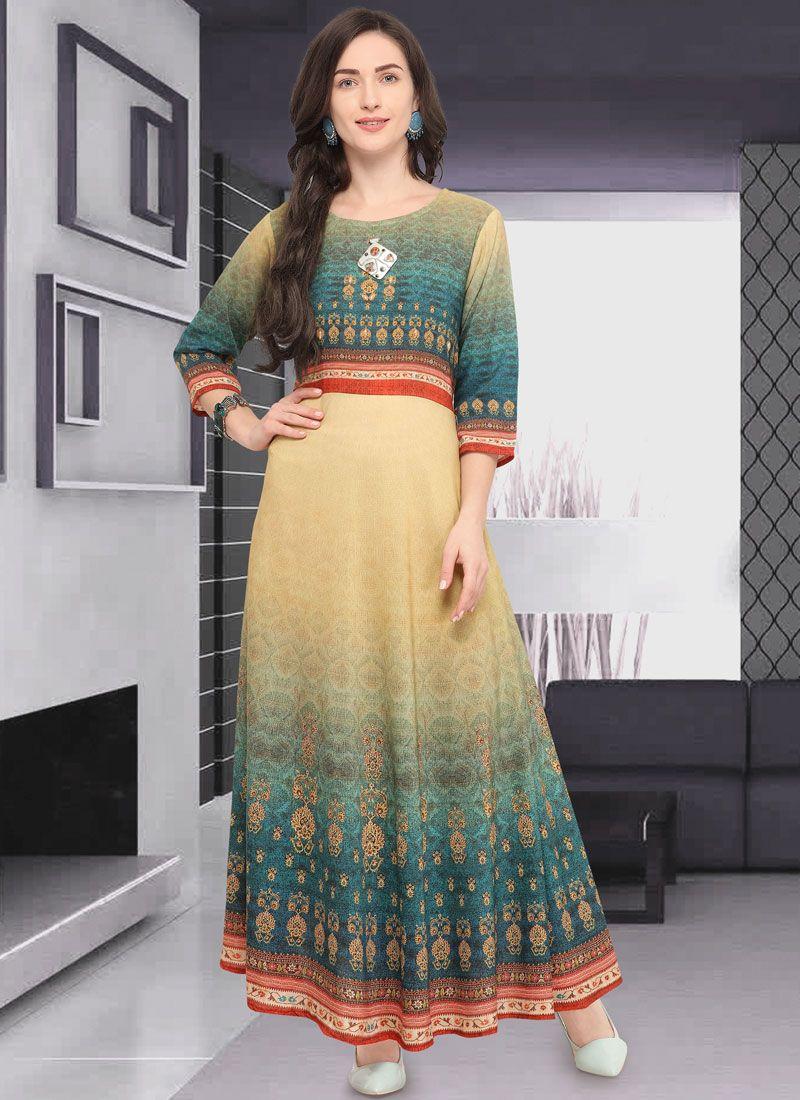 ed9865ed111 Buy Multi Colour Art Silk Festival Party Wear Kurti Online -