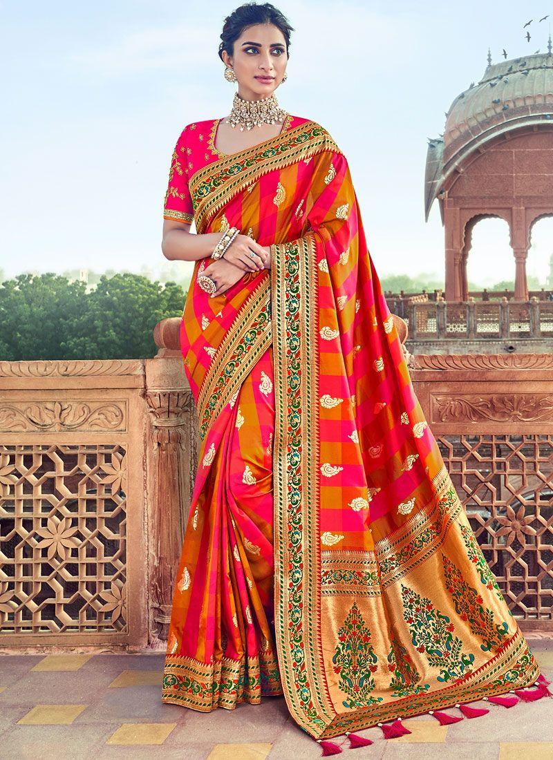 Multi Colour Art Silk Patch Border Traditional Designer Saree