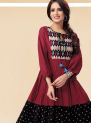 Multi Colour Art Silk Printed Casual Kurti