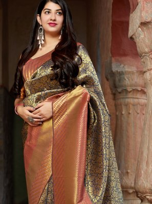 Multi Colour Banarasi Silk Weaving Traditional Saree