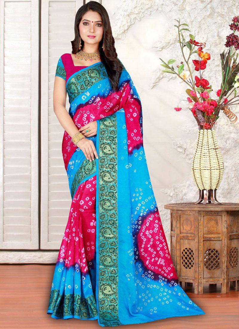 Multi Colour Bandhej Art Silk Casual Saree