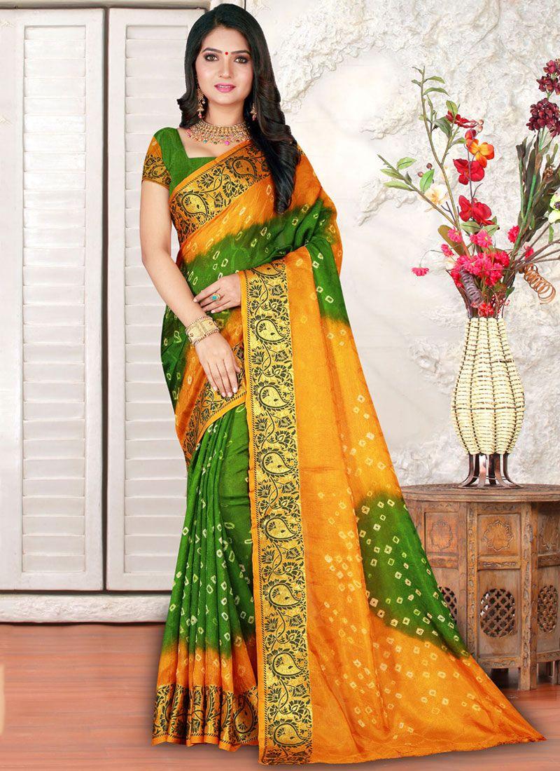 Multi Colour Bandhej Casual Saree