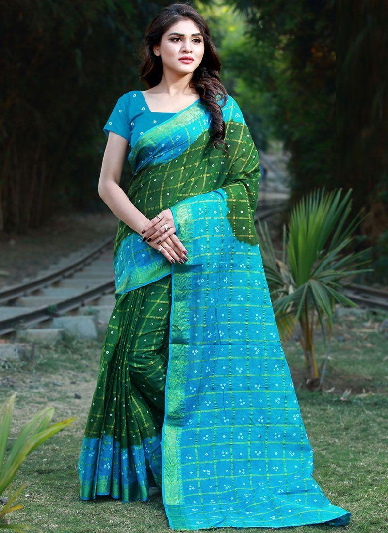 Multi Colour Bandhej Cotton Casual Saree
