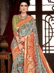 Multi Colour Bhagalpuri Silk Traditional Saree