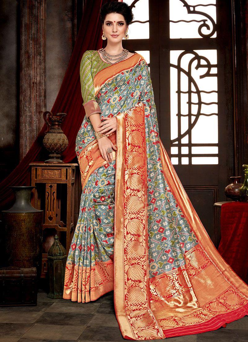 Multi Colour Bhagalpuri Silk Traditional Saree